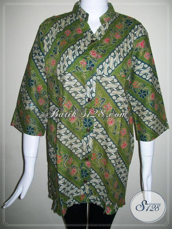 Baju BAtik Kombinasi Motif Parang Dan Bunga,Baju Batik Wanita Warna Hijau [BLS417P-L]