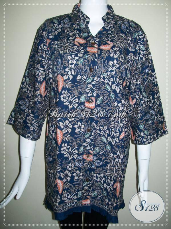 Baju BAtik Elegan Motif Bunga,Blus Batik Wanita Aktif Bahan Berkwalitas [BLS423CT-XL]