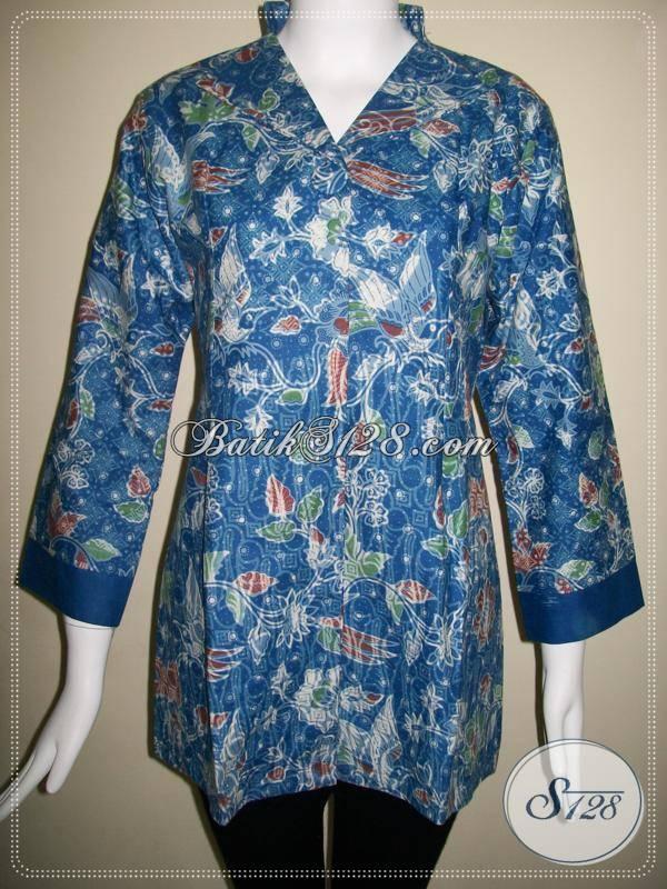 Baju BAtik Model Modern,Baju Batik Wanita Motif Terkini Warna Biru [BLS426P]