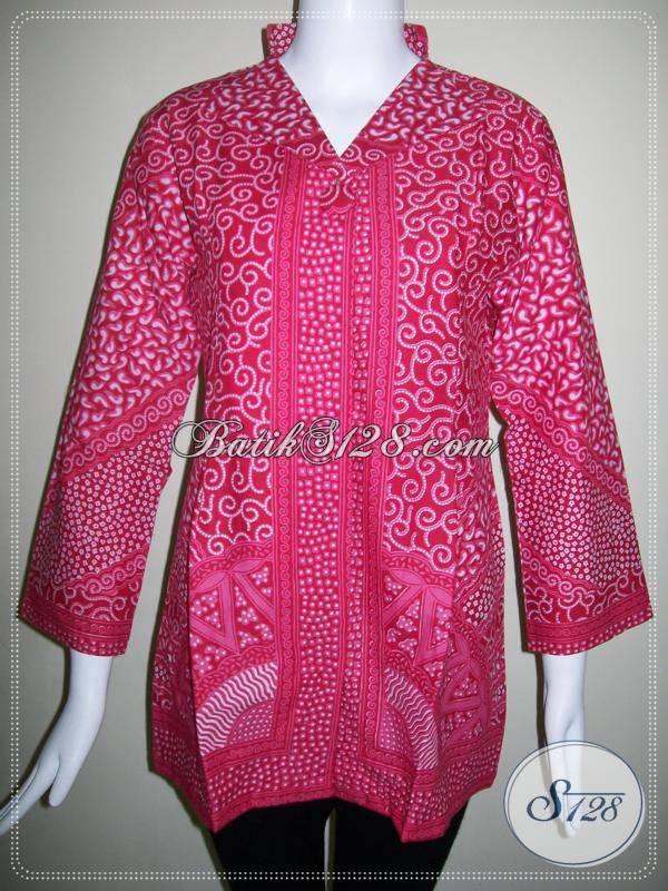 Blus Batik Wanita Motif Matahari Warna Merah,Blus Kerja Wanita Modern Dan Aktif [BLS427P-M]