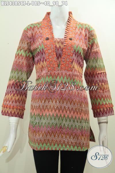 Baju Blus Batik Cap Tulis Motif Bagus Kwalitas Halus, Busana Batik Keren Model Resleting Belakang Cocok Untuk Kerja Dan Acara Santai [BLS4385CT-L]
