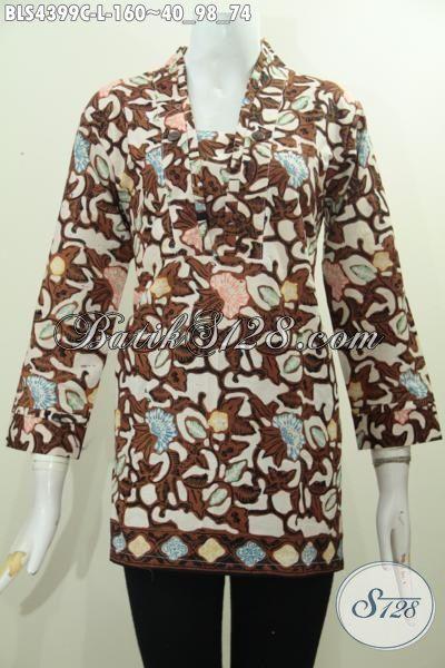 Di Jual Online Pakaian Batik Modis Untuk Wanita Dewasa Karir Aktif, Baju Kerja Batik Model Blus Resleting Belakang Motif Bagus Proses Cap Harga Terjangkau [BLS4399C-L]