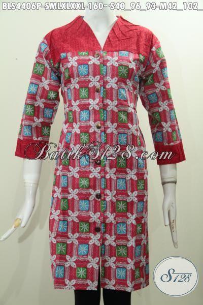 Model atasan batik kombinasi kain polos dibagian atas dan ujung lengan