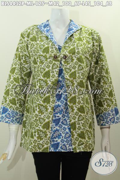 Baju Blus Istimewa Kombinasi Warna Hijau Dan Biru, Produk Busana Batik Cewek Terkini Model Jas Berbahan Halus Batik Print Asli Solo [BLS4432P-M , L]