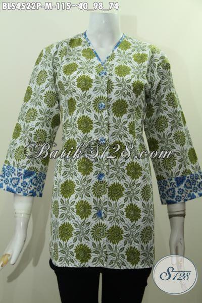 Jual Online Blus Batik Jawa Tengah Bahan Adem Motif Trendy Untuk Penampilan Lebih Mempesona, Baju Batik Plisir Kombinasi Kerah V Proses Print Harga 100 Ribuan [BLS4522P-M]