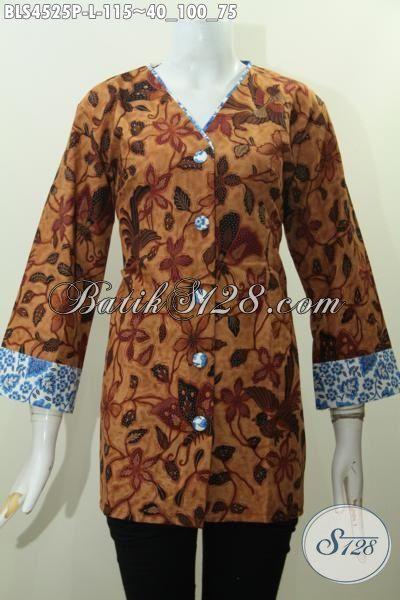 Toko Baju Batik Online Langganan Pegawai, Pakaian Batik Elegan Size L Berbahan Adem Proses Printing Model Kerah V Desain Plisir Cocok Untuk Seragam Kerja Kantoran [BLS4525P-L]