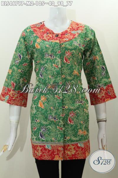 Jual Baju Blus Dua Warna Kwalitas Bagus Harga Murmer, Pakaian Batik Wanita Proses Print Model Terbaru Yang Lebih Berkelas Dan Keren, Cocok Untuk Acara Santai [BLS4679P-M]