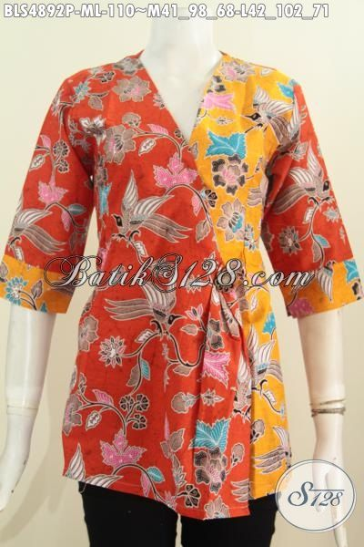 Toko Baju Batik Online Motif Keren Dengan Kombinasi Warna Orange Dan Kuning Proses Printing Bahan Adem Yang Modis Serta Nyaman Di Paki [BLS4892P-L]