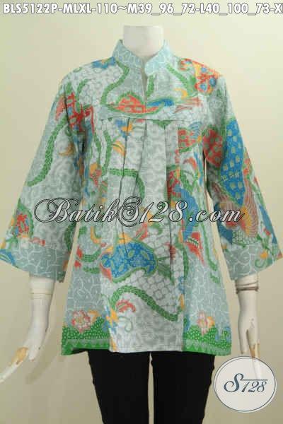 Baju Blus Keren Model Kerah Shanghai Tanpa Kancing, Busana Batik Elegan Modis Berbahan Halus Motif Terbaru Proses Printing, Di Jual Online 110K [BLS5122P-M]