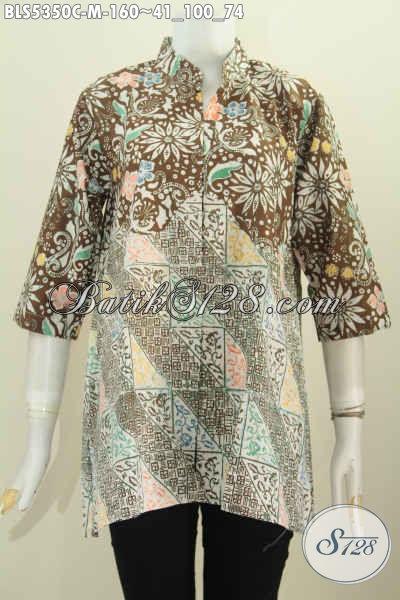 Produk Terbaru 2020, Busana Batik Wanita Terkini Bahan Halus Motif Kombinasi Proses Cap, Baju Blus Batik Kerah Shanghai Nan Istimewa Dengan Harga Biasa [BLS5350C-M]