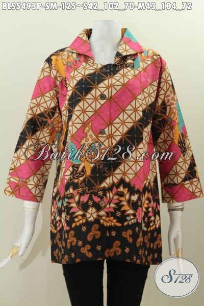 Jual Online Busana Blus Batik Kwalitas Istimewa, Produk Baju Batik Kerah Kotak Proses Printing Bahan Adem Halus Dan Nyaman Di Pakai [BLS5493P-M]