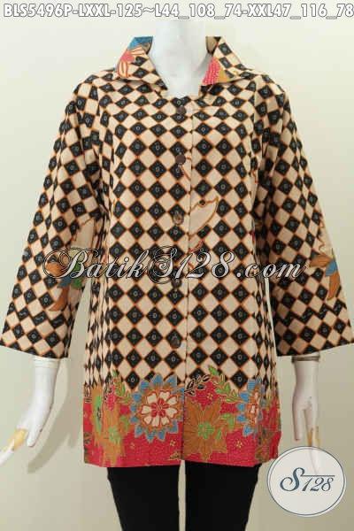 Jual Baju Batik Online, Busana Batik Wanita Atasan Kerah Kotak Motif Elegan Proses Printing Hanya 125 Ribu Saja, Kwalitas Bagus Bahan Halus [BLS5496P-L]