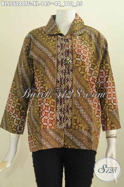 Busana Batik Wanita Dewasa, Baju Blus Kerah Bulat Pakai Kancing Besar Hadir Dengan Motif Elegan Cap Tulis Soga Bisa Untuk Santai Dan Resmi [BLS5528CTG-XL]