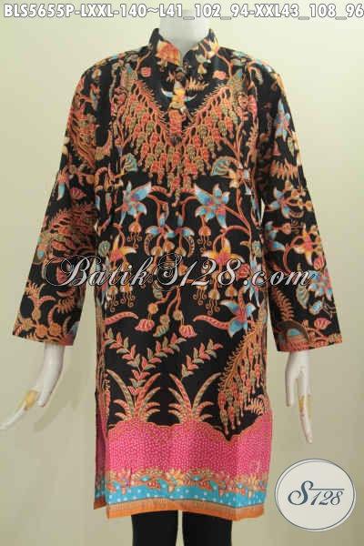Jual Baju Batik Muslim Online, Blus Kerah Shanghai Lengan Panjang Halus Motif Mewah Proses Printing Harga Grosir [BLS5655P-L]