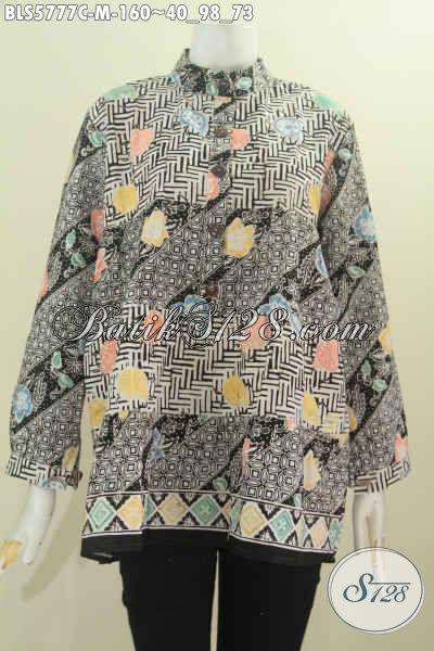 Jual Online Blus Batik Lengan Panjang Kerah Shanghai, Busana Batik Trendy Dan Elegan Dengan Kombinasi Dua Warna Proses Cap Harga 160K [BLS5777C-M]