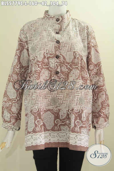Baju Blus Kerah Shanghai Dua Warna, Pakaian Batik Cewek Lengan Panjang Motif Berkelas Proses Cap Harga 100 Ribuan [BLS5779C-L]