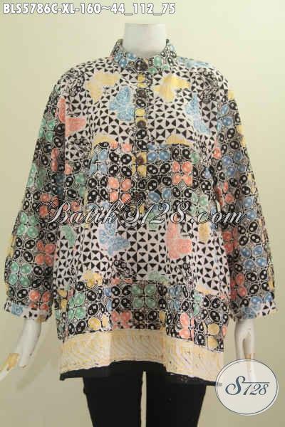 Baju Blus wanita Dewasa, Pakaian Batik Halus Model Kerah Shanghai Lengan Panjang Dua Warna Motif Mewah Proses Cap Harga 160K [BLS5786C-XL]