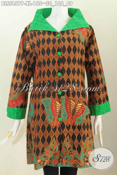 Batik Blus Istimewa, Pakaian Batik Kerah Lebar Buatan Solo Motif Keren Proses Printing Untuk Santai Dan Hangout [BLS5857P-XL]