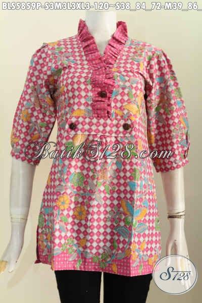 Batik Blus Warna Pink Motif Unik Dan Keren Proses Printing, Baju Batik Solo Desain Krah Rempel Lengan 3/4 Harga 120K [BLS5859P-M , L , XL]