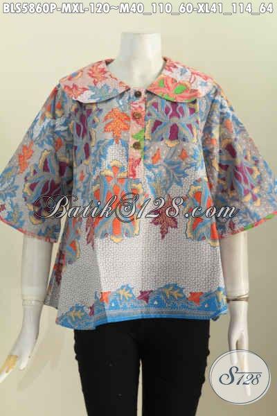 Blus Batik Printing Kerah Bulat Motif Bagus Untuk Wanita Muda Dan Dewasa Tampil Gaya Dan Modis [BLS5860P-M]