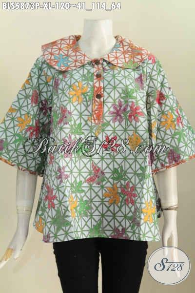Baju Batik Wanita Dewasa Size XL, Busana Blus Batik Kerah Bulat Motif Trendy Harga Murmer Bisa Tampil Modis Dan Gaya [BLS5873P-XL]