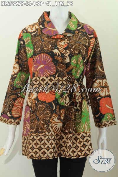 Sedia Pakaian Batik Modis Nan Elegan, Blus Batik Kerah Miring Lengan Panjang Bahan Adem Motif Unik Proses Printing Untuk Penampilan Lebih Istimewa [BLS5897P-L]