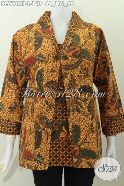 Baju Batik Keren Desain Elegan Dan Berkleas, Blus Batik Model Jas Bahan Halus Proses Printing Kombinasi Dua Motif Harga 140 Ribu [BLS5906P-L]