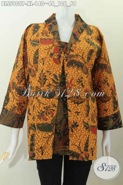 Baju Batik Elegan Mewah Harga Murah Kombinasi Dua Motif Klasik Untuk Penampilan Lebih Gaya Dan Berkelas [BLS5909P-XL]