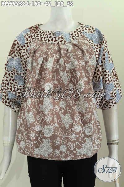 Produk Pakaian Batik Nan Istimewa, Sedia Busana Batik Modern Buatan Solo Model Tanpa Krah Bahan Halus Proses Cap Harga 150 Ribu [BLS5923C-L]