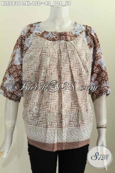 Produk Pakaian Batik Modern Dan Modis, Baju Batik Trend Mode Terkini Desain Tanpa Kerah Proses Cap Buat Penampilan Lebih Gaya [BLS5931C-XL]