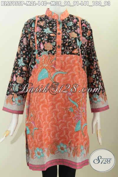 Baju Blus Wanita Muda Dan Dewasa, Pakaian Batik Modis Bahan Adem Proses Printing Model Kerah Shanghai Lengan Panjang Untuk Tampil Gaya Dan Mempesona [BLS5955P-M , L]
