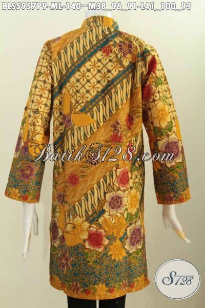 Aneka Pakaian Batik Wanita Muda, Blus Batik Kerah Shanghai Lengan Panjang Bahan Adem Proses Printing Untuk Wanita Tampil Modis Dan Istimewa [BLS5957P-M]