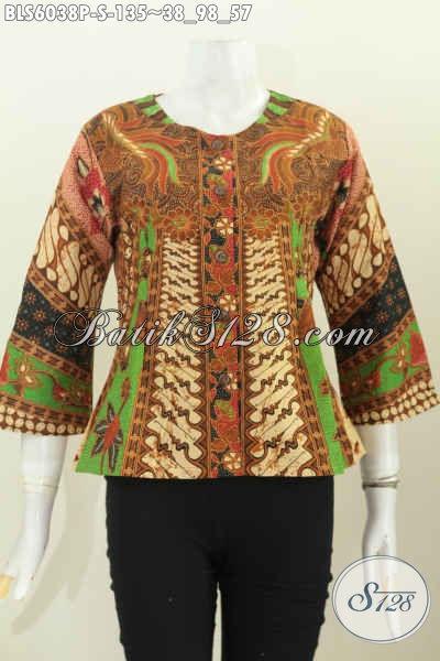 Baju Batik Elegan Model Keren Desain Tanpa Kerah, Baju Batik Printing Untuk Wanita Muda Dan Remaja Putri [BLS6038P-S]