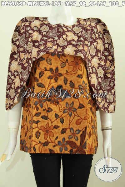 Toko Baju Batik Online, Jual Blus Wanita Model Terkini Bahan Adem Desain Keren Harga 125k Motif Kombinasi Proses Printing [BLS6053P-L , XL]