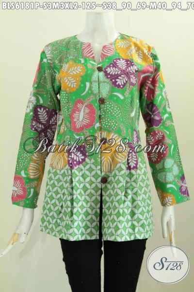Blus Batik Hijau Tanpa Krah Motif Kombinasi Bahan Halus Proses Printing Harga 125K [BLS6181P-M]