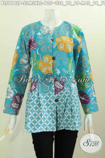 Baju Blus Untuk Kerja, Pakaian Batik Wanita Karir Terkini Desain Mewah Tanpa Krah Bahan Adem Motif Trendy Proses Printing Untuk Tampil Lebih Bergaya [BLS6182P-S , M , XL]