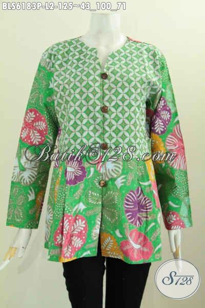 Produk Busana Batik Wanita Muda Dan Dewasa Model Tanpa Krah, Baju Batik Solo Halus Harga Murmer Kwalitas Istimewa [BLS6183P-L]