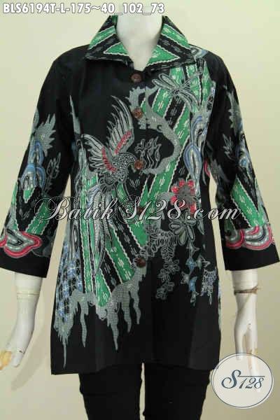 Toko Baju Batik Online, Busana Batik Istimewa Bahan Adem Proses Tulis Model Kerah Kotak Pas Buat Ke Kantor [BLS6194T-L]