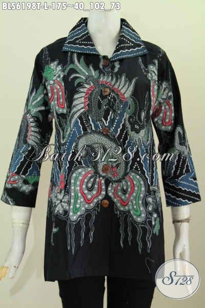 Jual Pakaian Blus Batik Wanita Kerah Kotak Online, Baju Batik Halus Cocok Untuk Ke Kantor Dan Acara Resmi Tampil Berkelas [BLS6198T-L]