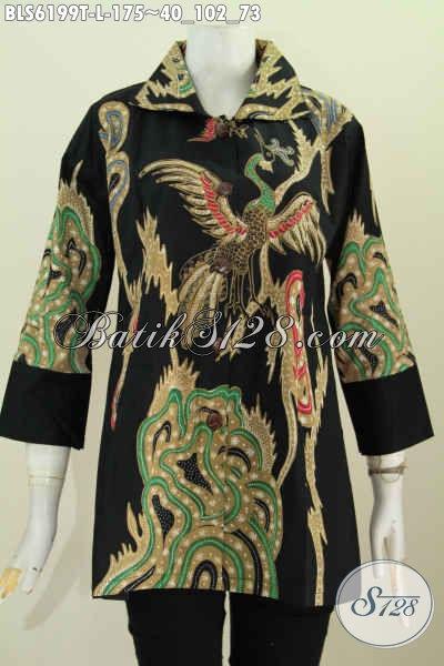 Baju Batik Tulis Buatan Solo, Blus Kerah Kotak Untuk Wanita Tampil Mempesona Harga 175K [BLS6199T-L]