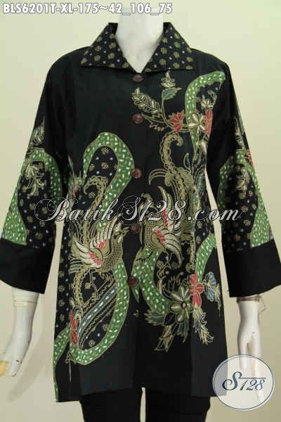 Baju Batik Tulis Paling Murah Buat Wanita, Busana Blus Batik Kerah Kotak Trend Motif Terkini Bikin Peanmpilan Terlihat Istimewa [BLS6201T-XL]