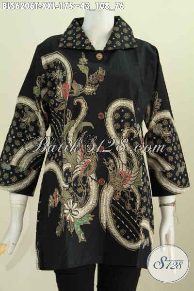 Baju Batik Hitam Motif Mewah Proses Tulis, Pakaian Batik Solo Istimewa Model Kerah Kotak Ukuran Jumbo Pas Buat Wanita Gemuk [BLS6206T-XXL]