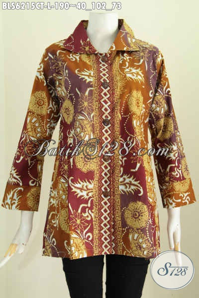 Batik Blus Kerah Kotak Motif Terbaru Yang Bikin Penampilan Lebih Stylish Dan Mempesona [BLS6215CT-L]