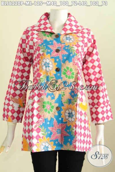 Baju Blus Dua Motif, Produk Pakaian Batik Kerwn Kerah Kotak Proses Printing Harga Murmer [BLS6220P-L]