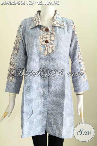 Baju Blus Keran Banget, Blus Kerah Kotak Halus Motif Trendy Proses Cap Hanya 165K [BLS6227C-M]