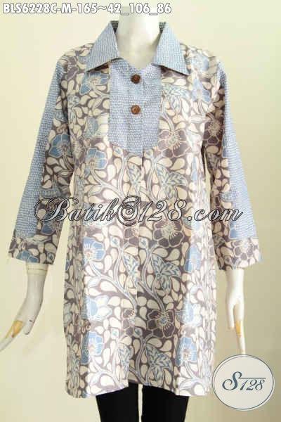 Pakaian Batik Masa Kini, Baju Blus Kerah Kotak Trendy Motif Bagus Banget Proses Cap Kwalitas Istimewa [BLS6228C-M]
