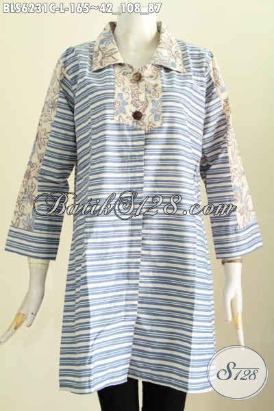 Blus Batik Modern, Pakaian Batik Wanita Motif Gaul Cocok Buat Hangout Proses Cap Hanya 165K [BLS6231C-L]