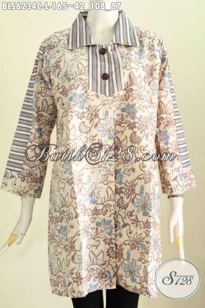 Baju Blus Keren Ukuran L, Pakaian Batik Masa Kini Bahan Adem Proses Cap Untuk Kerja Dan Acara Santai [BLS6234C-L]