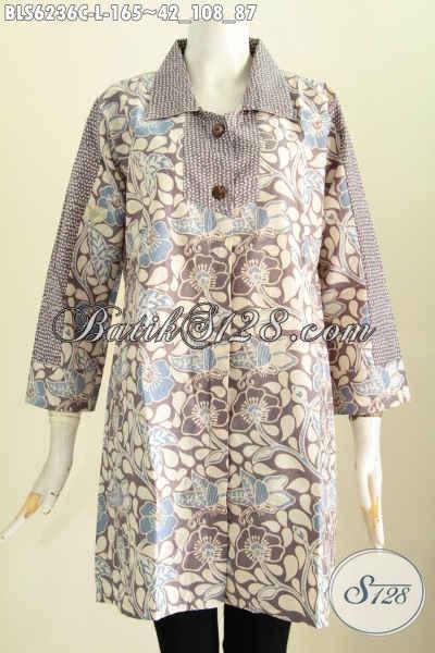 Baju Blus Kerah Kotak Proses Cap, Pakaian Batik Istimewa Bahan Adem Motif Unik Cocok Buat Gaul [BLS6236C-L]