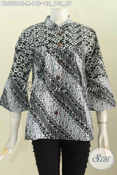 Baju Batik Wanita Kerah Shanghai Monokrom, Pakaian Batik Modis Cocok Untuk Seragam Kerja Bahan Halus Proses  Cap Harga 100 Ribuan [BLS6294C-M]